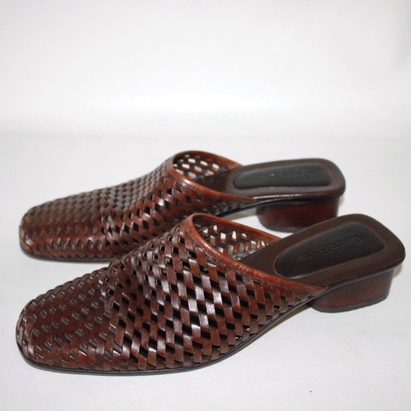 Cole Haan Shoes - Cole Haan Woven Mahogany Leather Block Heel Mule